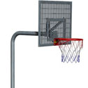 Basketball goal with steel windflow back board